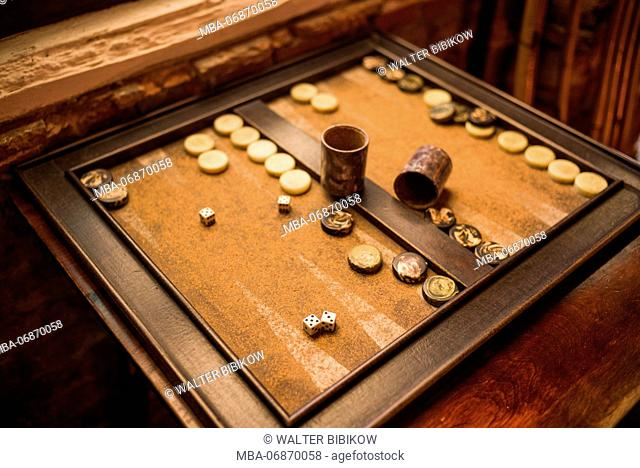 U.S. Virgin Islands, St. Thomas, Charlotte Amalie, backgammon game board