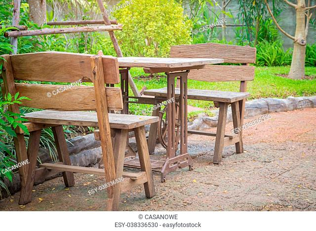 Tables and chairs vintage at park outdoor