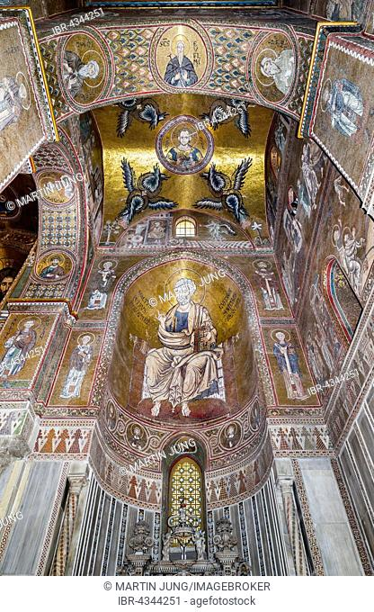 Byzantine mosaics, Saint Peter, apse right aisle, Monreale Cathedral or Santa Maria Nuova Cathedral, Monreale, Province of Palermo, Sicily, Italy