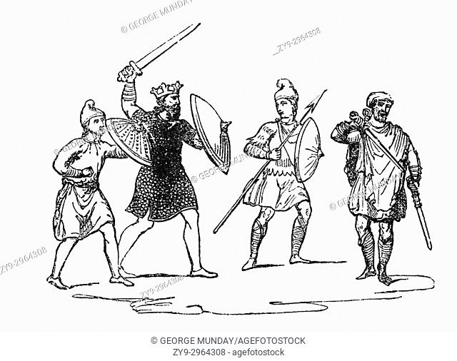 The costume and dress of Anglo Saxon King Harold with his soldiers around the time of the 1066 Norman invasion of England