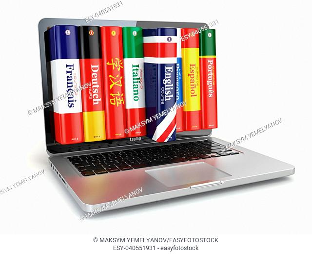 E-learning. Learning languages online. Dictionaries and laptop. 3d