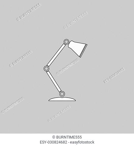 Table lamp Simple line vector button. Thin line illustration icon. White outline symbol on grey background