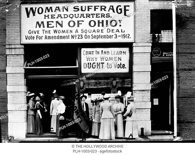 Woman suffrage headquarters in Upper Euclid Avenue, Cleveland--A. (at extreme right) is Miss Belle Sherwin, President, National League of Women Voters; B