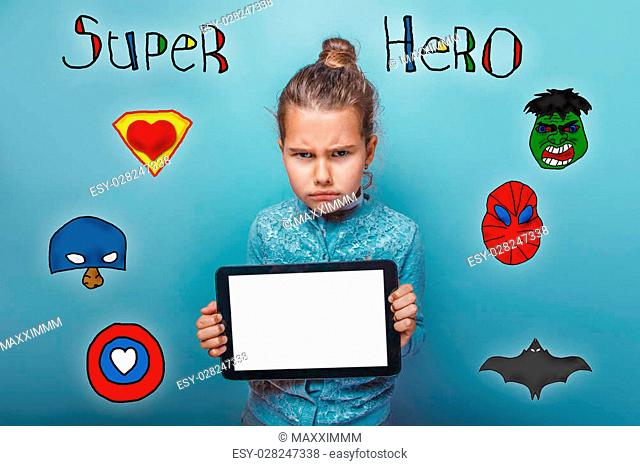 baby girl holding photo camera closeup Selfe super hero super power at the photo studio Icons hero