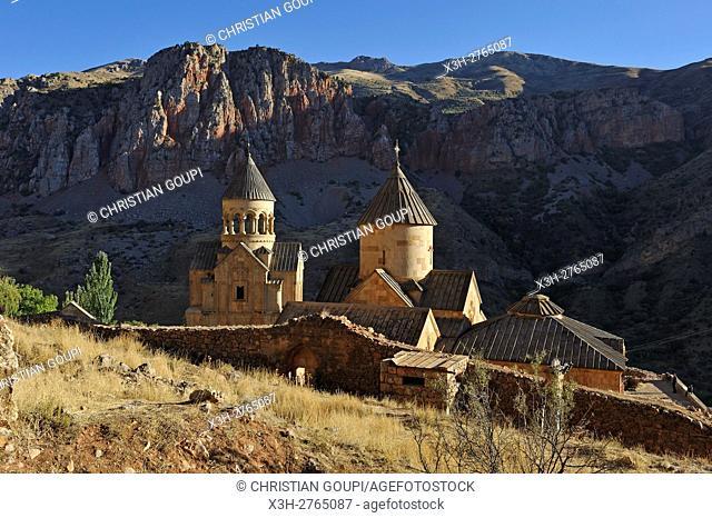 overview of Noravank Monastery and Amaghu River gorges, near Yeghegnadzor, Armenia, Eurasia