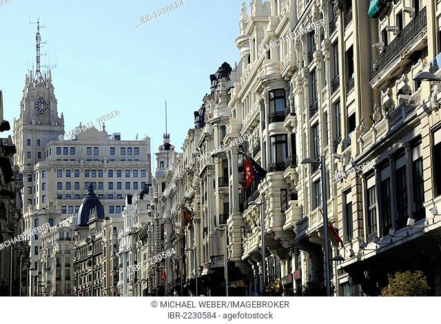 Magnificent buildings along Calle Gran Via with the Edificio Telefónica, Europe's first skyscraper, Calle Gran Via, Madrid, Spain, Europe, PublicGround