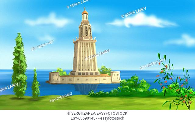 Digital painting of the Lighthouse of Alexandria - one of the wonders of the world
