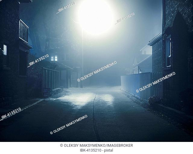 Mysterious foggy nighttime scenery of a small city street lit with a street light, Toronto, Canada