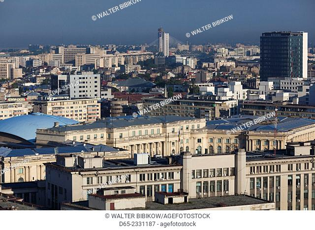 Romania, Bucharest, city skyline, elevated view over former Communist Party Central Comittee Building, now government Interior Ministry, dawn