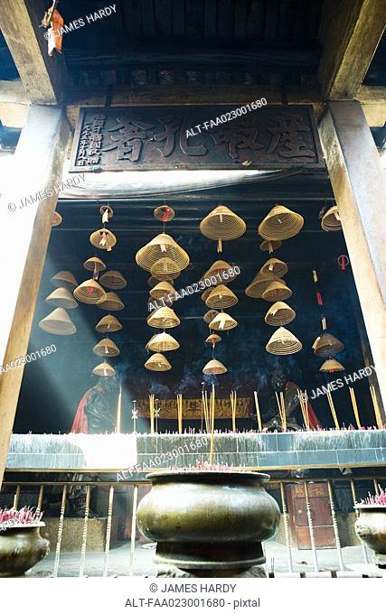 Incense burning in Chinese temple