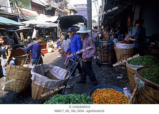 Group of people in a vegetable market, Thailand