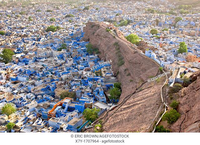 View of the Blue City from the Mehrangarh Fort, Jodhpur, Rajastan, India