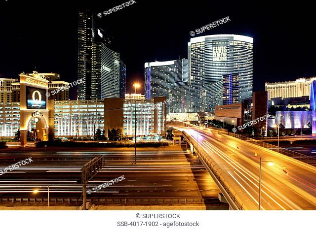 CityCenter Mixed use development on the Las Vegas Strip with Interstate 15 in the foreground taken late evening