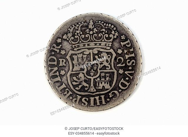Silver coin Spain 2 reales