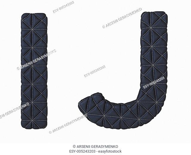 Luxury black stitched leather font I J letters