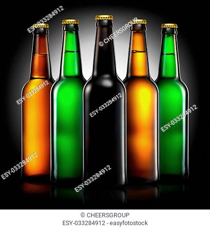 Set of beer bottles with clipping path isolated on black gradient background