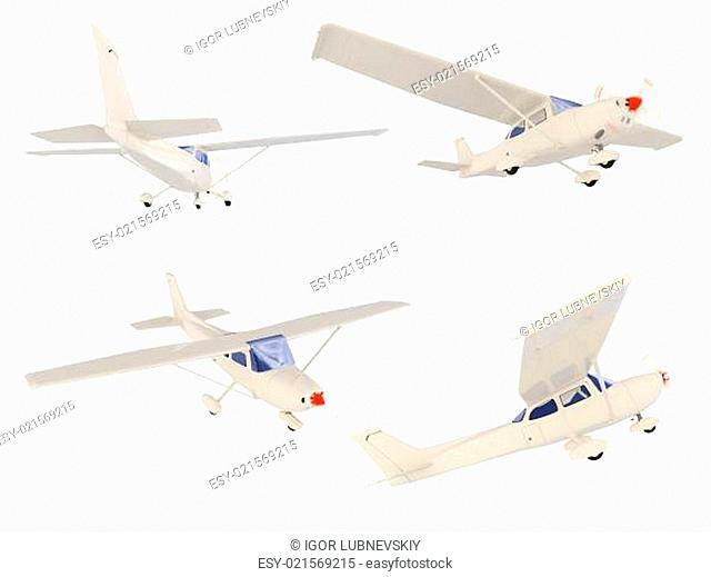 Collage of isolated small airplane