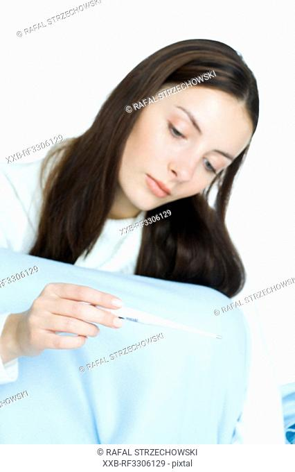 young woman with high fever