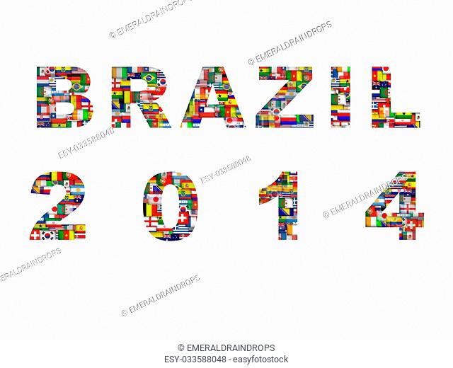 Brazil map with flags of qualified nations for 2014 football tournament