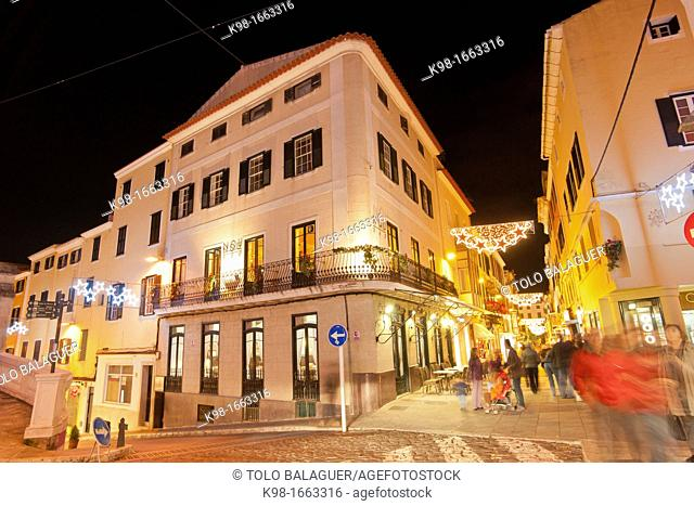 Shopping street Carrer Nou Mahon Menorca Spain Balearic islands