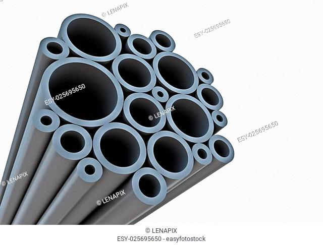 Industrial background with tubes and white copy space