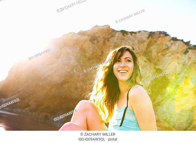 Young woman enjoying beach