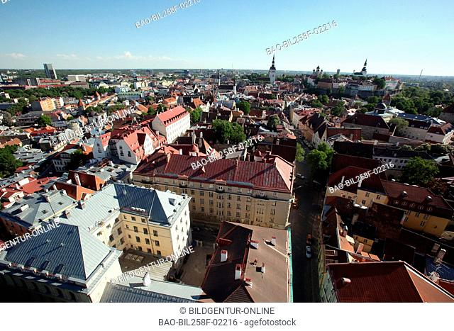 View of the city hall tower about the Old Town in Tallinn, Estonia