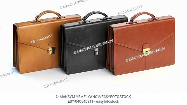 Different briefcases on a white background. Briefcase shop or marketing concept. 3d illustration