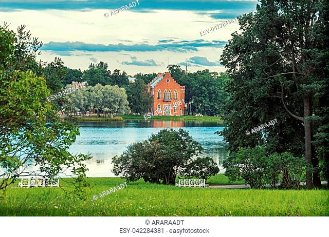Catherine park and summer view at Admiral House, Pushkin, St.Petersburg