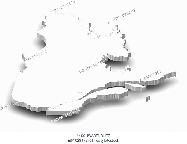 Map of Quebec, a province of Canada, as a gray piece with shadow