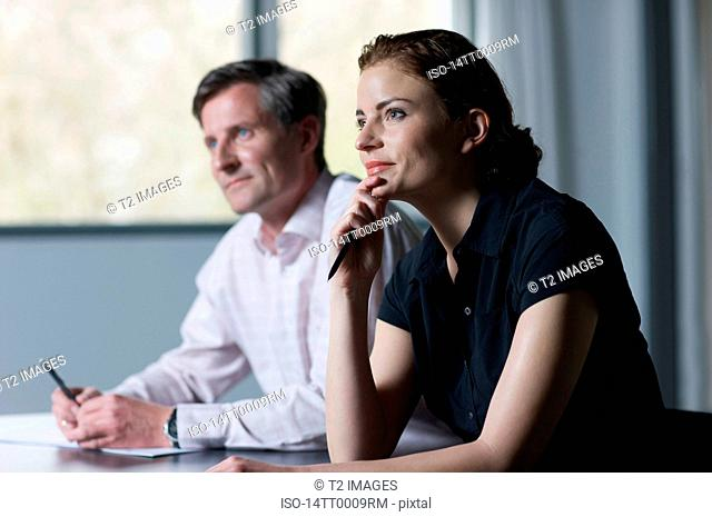 Business partners listening