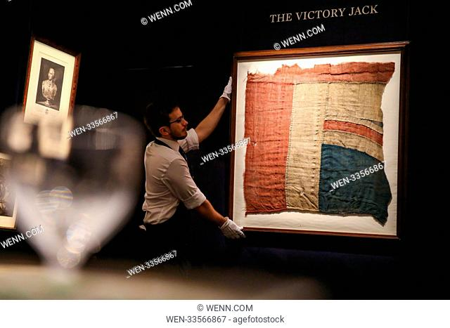 Nelson's Treasure Trove photocall at Sotheby's in London which includes The Victory Jack - an exceptionally large fragment of the Union Flag which flew from HMS...