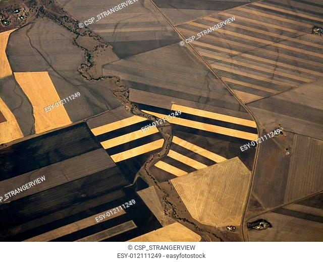 Close Aerial View of Crop Patterns of Queensland Plains