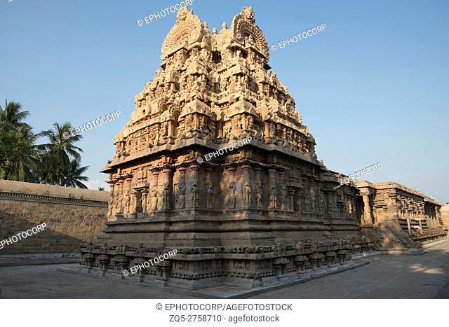 South East view of Deivanayaki Amman shrine, adjacent to Airavatesvara Temple, Darasuram, Tamil Nadu, India