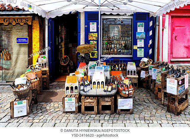 regional local products for sale, front of small local store, Honfleur, Calvados, Normandy, France