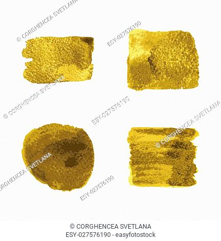 Vector gold paint smear stroke stain set on white background. Abstract gold glittering textured art illustration