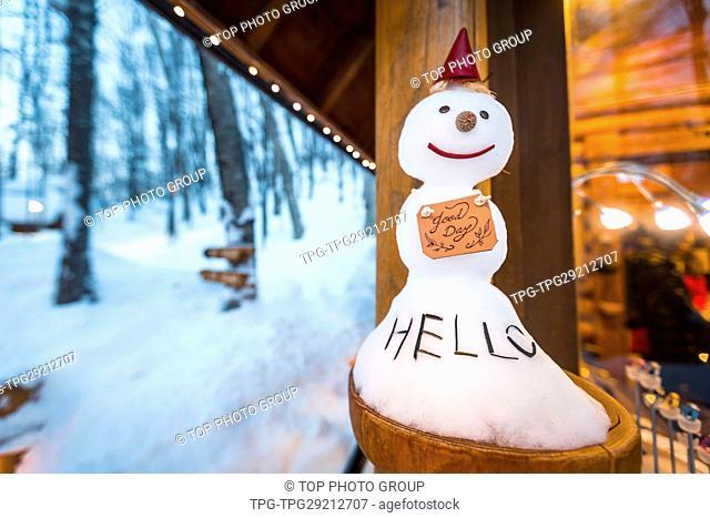 Say Hello; snowman; Ninguru Terrace;Furano;Hokkaido;Japan