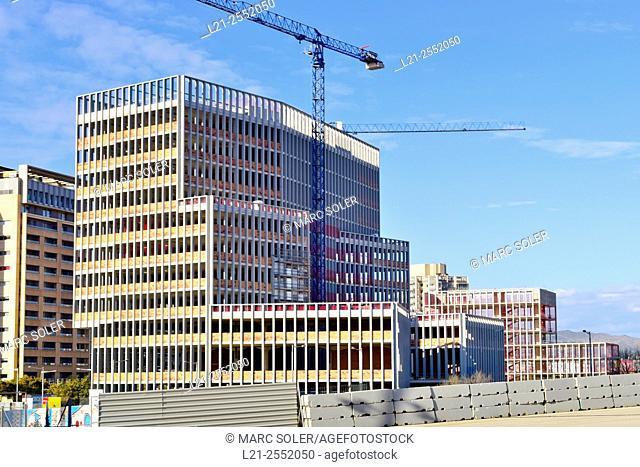Building under construction, Barcelona, Catalonia, Spain