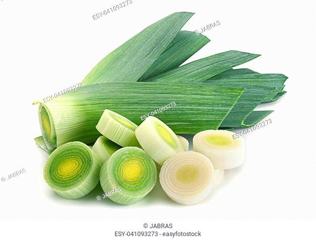 Leek vegetable closeup isolated on white background