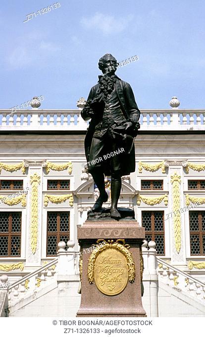 Germany, Saxony, Leipzig, Johann Wolfgang Goethe statue