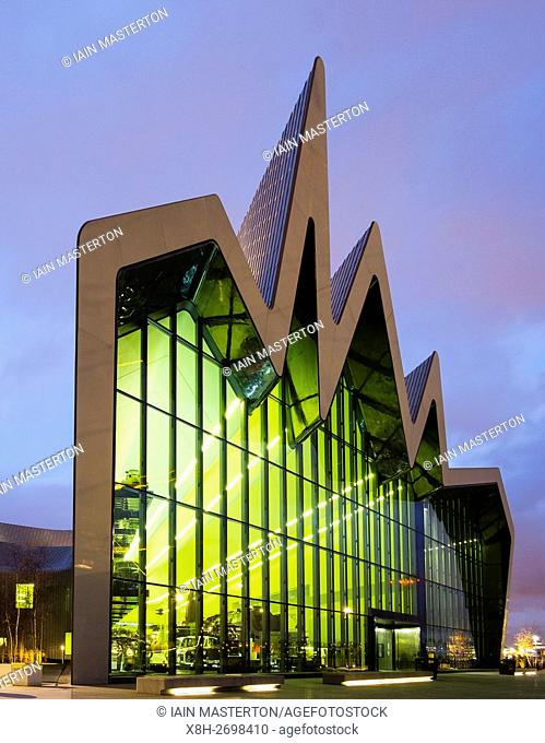 Night view of Riverside Museum, home of transport museum, in Glasgow, Scotland, United Kingdom