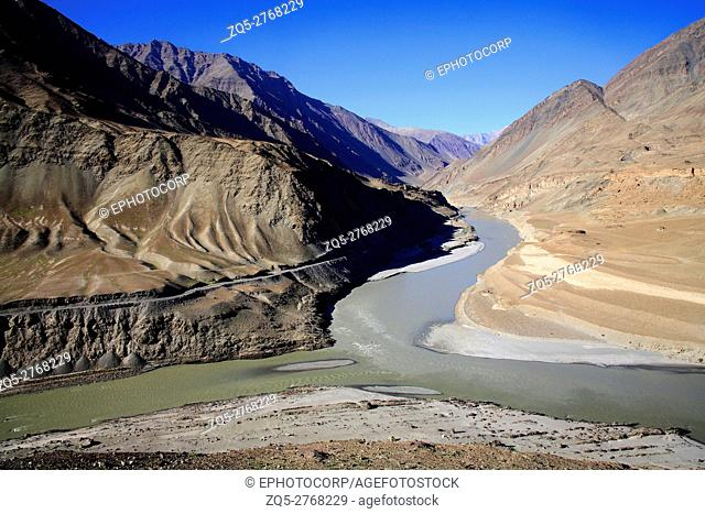 Confluence of river Indus and zanskar at Nimmu, Leh city, Ladakh, Jammu Kashmir, India