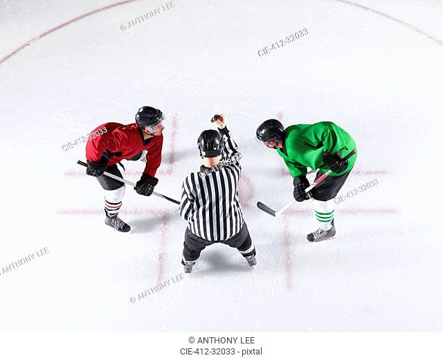 Hockey referee initiating opening face off between opponents