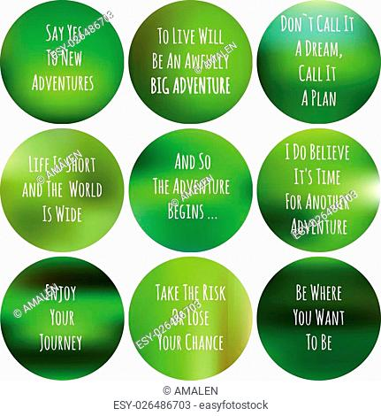 blurred adventure inspiration set. motivtional quote over blurred background. handwritten text on green poster for web design