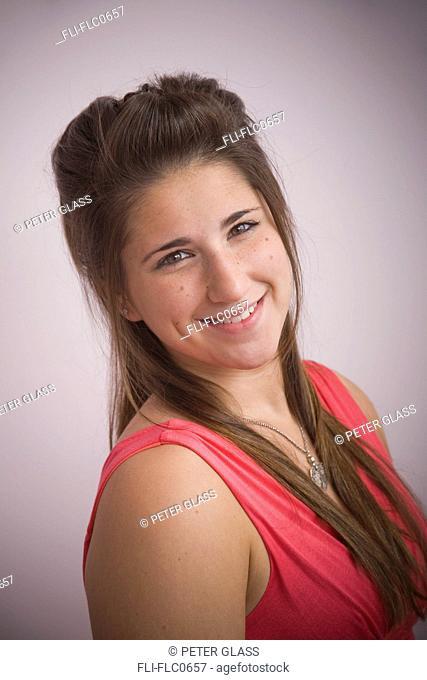 Teen girl, 15, posing for portrait