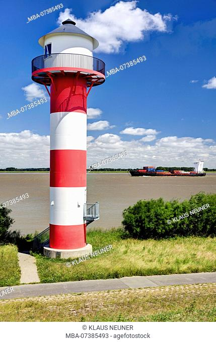 Lighthouse on the Elbe beach, Altes Land, Niederelbe, Lower Saxony, Northern Germany, Germany, Europe