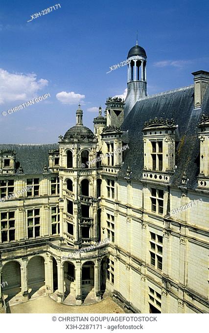 external stairs of the Chateau de Chambord, Loir-et-Cher department, Centre region, France, Europe