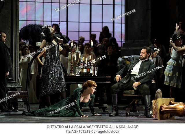 A scene of 'Attila' orchestra conductor Riccardo Chailly, Attila interpreted by Ildar Abdrazakov, Odabella interpreted by Saioa Hernández