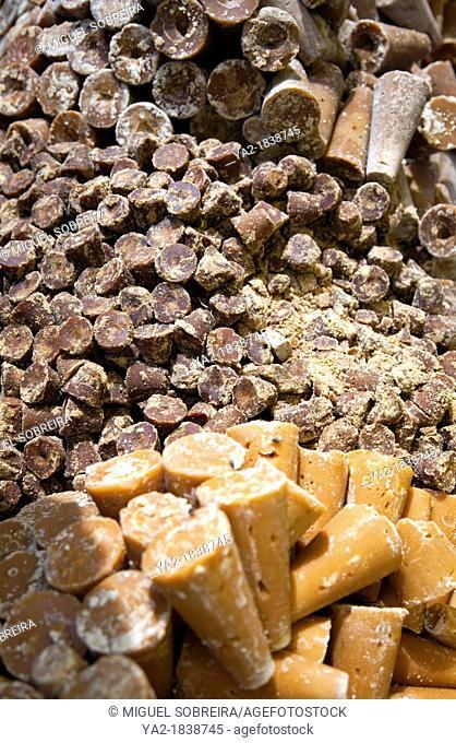 Piloncillo - Unrefined Sugar Cones - at Jamaica Market in Colonia Jamaica in Venustiano Carranza borough of Mexico City