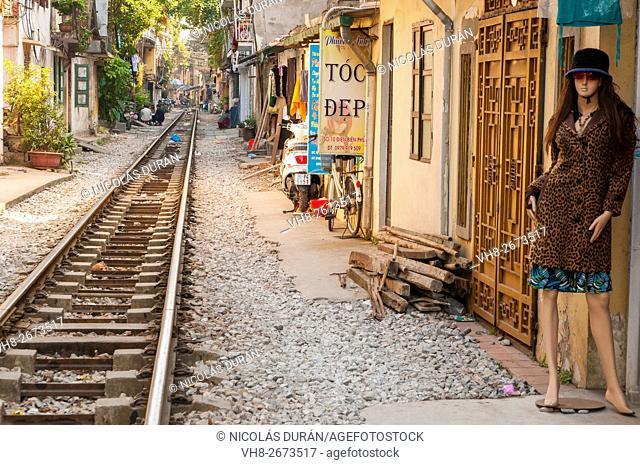 Railway and mannequin in Hai Phong Street. Hai Phong. Vietnam